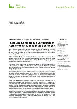 Pressemitteilung der Stadt Langenfeld