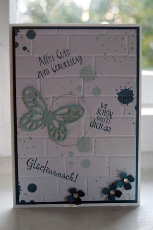 Geburtstagskarte mit Mauer - Patricia Stich 2015