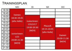 Trainingsplan 2016/2017