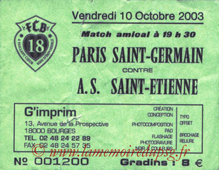 Ticket  PSG-Saint Etienne  2003-04