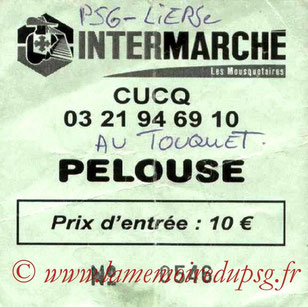 Ticket  PSG-Lierse  2002-03