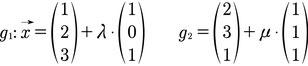 Beispiel für zwei Geraden in Normalenform
