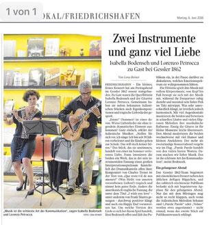 """Konzert in Friedrichshafen, Artikel in der """"Schwäbischen Zeitung von Lena Reiner vom 6.6.2016 vom"""