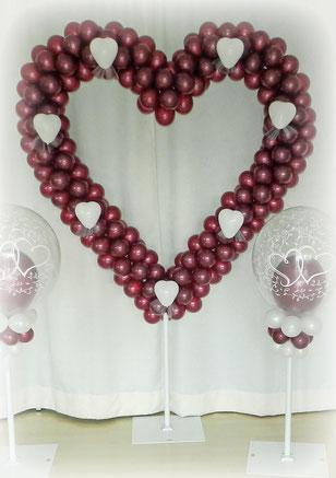 großes Herz Luftballon Ballon Ballonherz Deko Dekoration Hochzeit Polterabend Ständer XXL