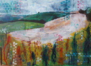 """Winklebury Hill and the Witches Broom"" 26.2 x 36.5cm, mixed media on cradled board. WHatWB01mm."