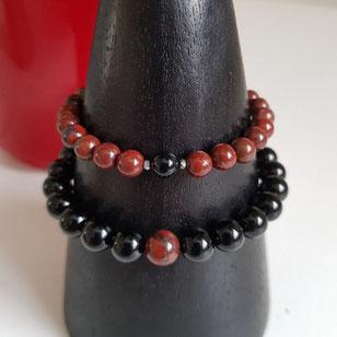 bracelets couple jaspe rouge