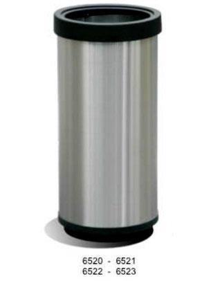 6520, 6521, 6522, 6523. Basurero Cilíndrico con Aro de plástico Inoxidable. Medidas: 29X30cm, 29X61 cm, 40X67 cm y 40X80 cm respectivamente