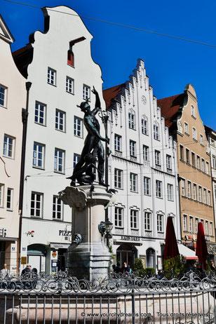 Voyage en Bavière - La fontaine de Mercure à Augsbourg
