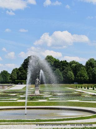 Le parc du château de Schleissheim avec ses fontaines