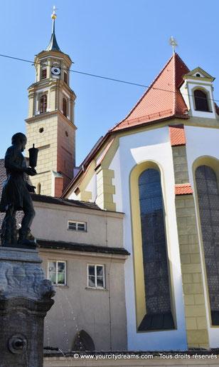 Place Martin Luther et les ruelles du centre ville et l´église Sainte Anna d´Augsbourg