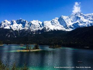 Le lac d´Eibsee et son paysage alpin magnifique, avec notamment une vur sur le Zugspitze