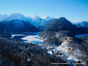 Les châteaux de Neuschwanstein et Hohenschwangau sous la neige, l´hiver