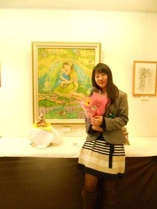記念写真。  立花雪 炎と楽園のアート 作品展