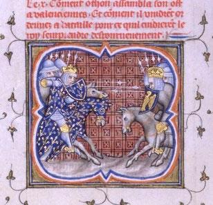 Bataille de Bouvines entre Philippe Auguste et l'empereur Otton IV (1214). Grandes Chroniques de France, Paris XIVe BnF. Temple de Paris
