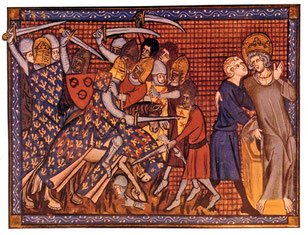 La bataille de Mansourah en 1250. Vie et miracles de Saint Louis, Guillaume de Saint-Pathus, XIVe siècle, BnF. TEMPLE DE PARIS