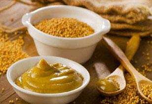 moutarde, vinaigre, condiments au safran