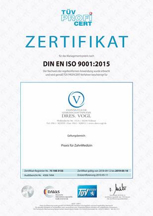 TÜV-Zertifikat Dres. Vogl Vellmar