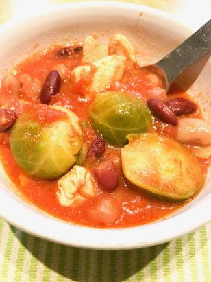 芽キャベツ 豆 スープ トマト缶 自然素材 モモ肉
