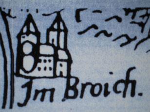 Burg-Broich   Zeichnung aus der Mercatorkarte von 1575