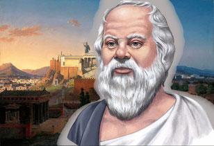 Im Hintergrund Athen