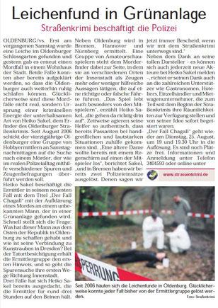 """Zeizungsartikel der Oldenburger Sonntagszeitung vom 16.08.2009: """"Leichenfund in Grünanlage""""- Quelle: Sonntagszeitung Oldenburg"""