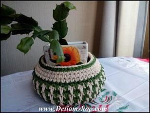 Вязанная ваза из шнура
