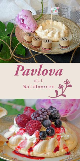 pavlova, pawlowa, waldbeeren, dessert, baiser, torte