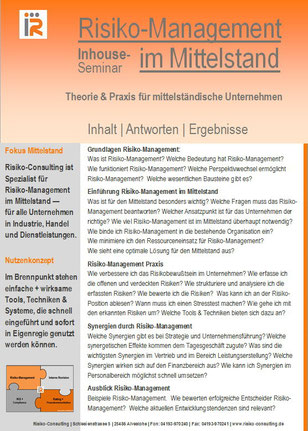 Risiko-Consulting: Inhouse-Workshop - Risiko-Management im Mittelstand.