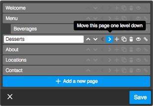 Чтобы создать подстраницу, воспользуйтесь настройками в Редактировании навигационного меню.