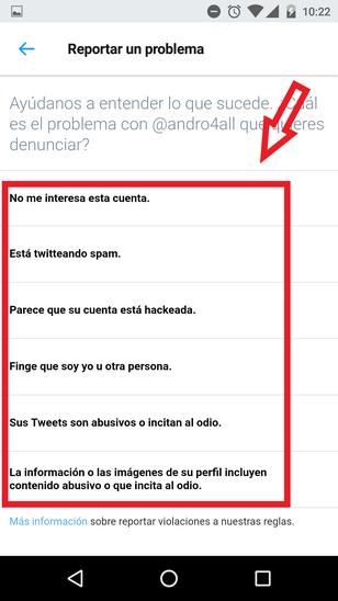 Motivos Para Reportar Una Cuenta De Twitter