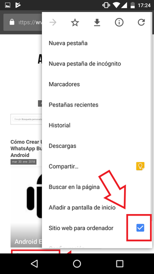 Versión Escritorio Chrome Android