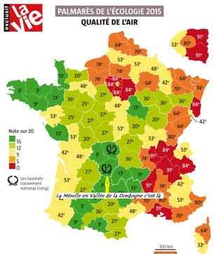 En 2015, le palmarès de écologie classe la Corrèze 1er département pour la qualité de son air. La Mérelle y est .