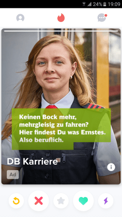 """Werbung """"DB Karriere"""", Deutsche Bahn AG. Quelle: Tinder (Screenshot)"""