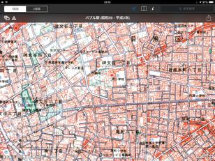 同じ場所の1990年代の地図。地図に往時の面影は全く感じられないが、 地形はしぶとく残っている(東京時層地図 for Ipadより)