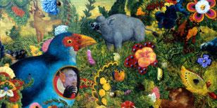 Promenade en forêt, 1997, huile et collage sur panneau, 46*55 (détail)