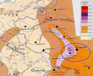 Atlante di contaminazione dei suoli elaborato dal CRIIRAD sui dati rilevati da Andrè Paris