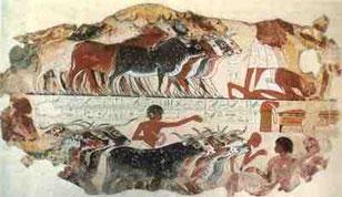 Pintura egipcia. Museo arqueológico de El Cairo.