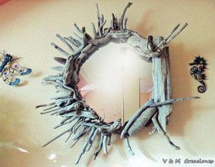 espejo madera de mar, espejo madera deriva, espejo sol, vymcreaciones.com, artesanía asturiana, driftwood mirror, v y m creaciones maderas del mar, eco desing, decoración con palos