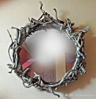 driftwood mirror, mirror, espejo madera deriva, espejo madera de mar, decoración ecológica, decoración con palos, vymcreaciones.com, vymcreaciones
