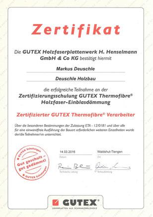 Deuschle Holzabu,Holzfaser-Einblasdämmung, Zertifikat, Gutex