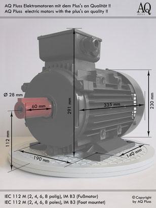 Einphasenmotor 3,7 KW 4 polig IEC 112M 1500 U/min Nenndrehzahl ca. 1440 U/m B3