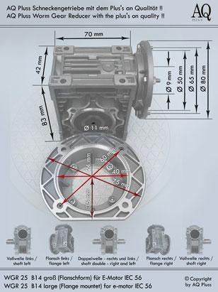 Getriebe » Schneckengetriebe » Schneckengetriebe ohne Motor » B14 groß Flanschform