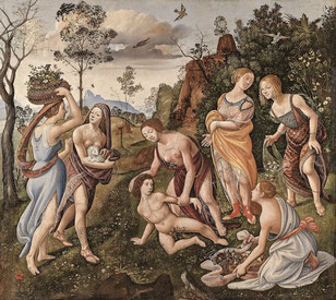 Piero di Cosimo (Firenze 1462 – 1522) Il ritrovamento di Vulcano 1487-1490 circa Tela Hartford (CT), Wadsworth Atheneum Museum of Art, The Ella Gallup Sumner and Mary Catlin Summer Collection
