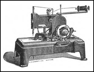 "Fig 1 - The Reece buttonhole sewing machine by the ""International Button Hole Sewing Machine Company"""
