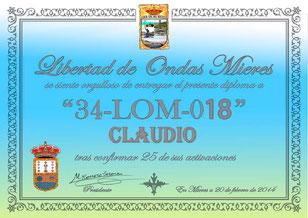 Diploma entregado por conseguir 25 activaciones con L.O.M. a 34-L.O.M.-018 Claudio.