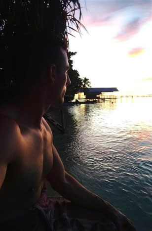 sunset at Mambetron Homestay Raja Ampat, after our stunning dives with Soul Scuba Divers