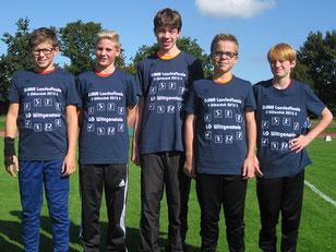 (v.l.) Elias Connor Dickel, Till Marburger, Damian Dreßler, Paul Seiffert und Kilian Seidel konnten Platz vier beim Landesfinale erkämpfen.