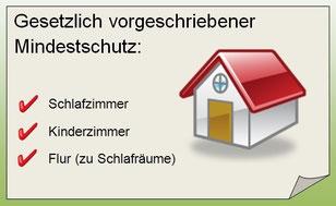 Bei Rauchmelder ist gesetzlicher Mindestschutz für diverse Räumlichkeiten vorgeschrieben