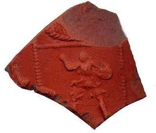 Une marque de potier gallo-romain de la Graufesenque (Aveyron) trouvée sur une amphore dans la commune de Saint- Marcellin.
