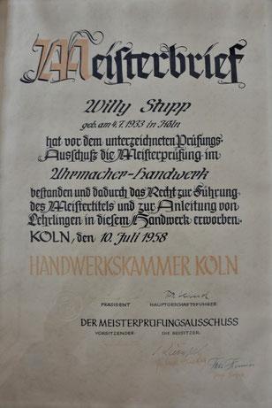 Meisterbrief , Uhrmachermeister , Köln , Stupp